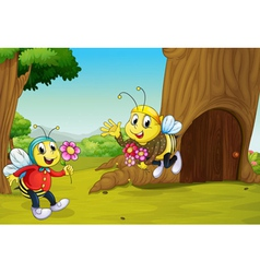 The two bees near a treehouse vector