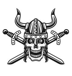Viking skull in horned helmet with crossed swords vector