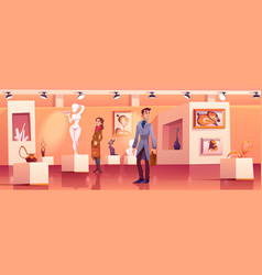 Visitors in museum with modern artworks vector