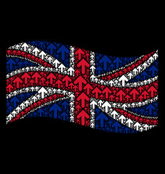 waving united kingdom flag pattern of arrow up vector image