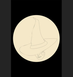 Witch hat and face line art vector
