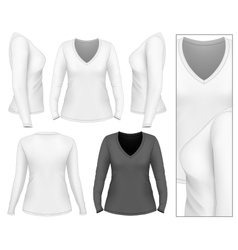 Womens v-neck long sleeve t-shirt vector image
