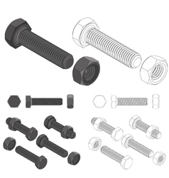 bolt and nut set all view isometric vector image vector image