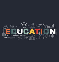 design concept of word education website banner vector image vector image