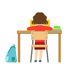 girl reading the book sitting at the desk in vector image vector image