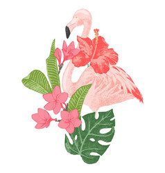hand drawn flamingo with tropical flowers vector image