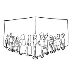People queue icon outline style vector