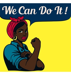 We can do it vintage poster black working woman vector image vector image