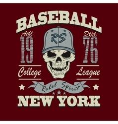 baseball skull t-shirt graphic design vector image vector image