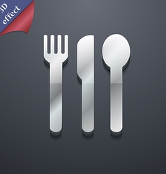 fork knife spoon icon symbol 3D style Trendy vector image vector image