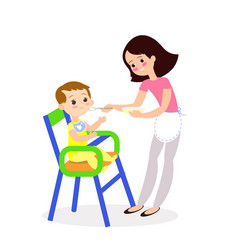 mom feeds baby cute characters vector image vector image