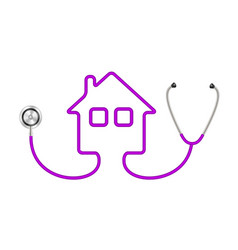 Stethoscope in shape of house in purple design vector