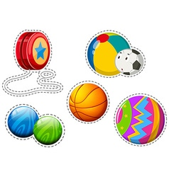 Sticker set of different balls vector image