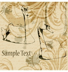 Vintage gunge background with swans and floral vector image vector image