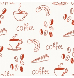 coffee doodle funny seamless vector image vector image