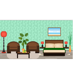elegant hotel room interior with furniture lamps vector image