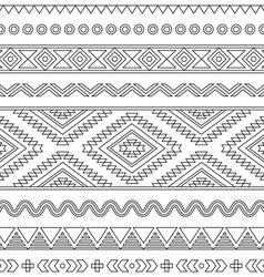 Tribal seamless Aztec stroke black pattern vector image vector image