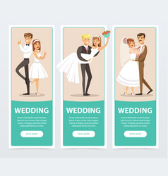 Wedding banners set happy just married couples vector