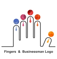 Fingers and businessman logo design templat vector image