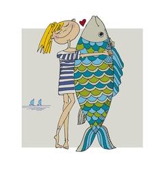 girl and big fish vector image vector image