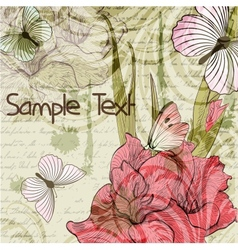 Grungy retro background with gladiolus flowers and vector image vector image