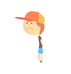sad offended cartoon boy standing colorful vector image