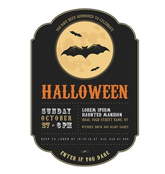 Vintage Halloween invitation with flying bats vector image