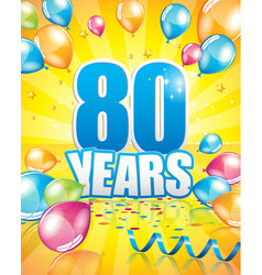 80 years birthday card vector