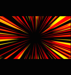 Abstract red yellow light speed zoom on black vector