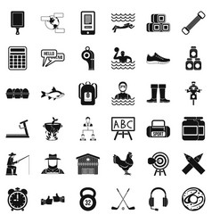 Accessories for sport icons set simple style vector