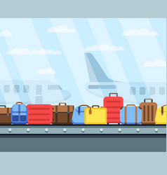 Airport conveyor belt with passenger luggage bags vector