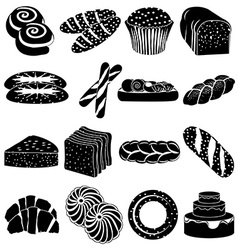 Bakery foods icons set vector
