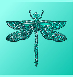 Blue dragonfly in mandala style stylized insect vector