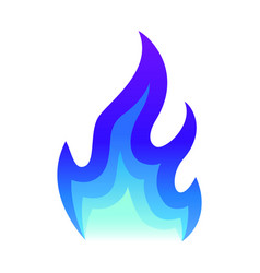 blue fire icon flat fire flame vector image