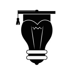 Bulb with graduation hat vector