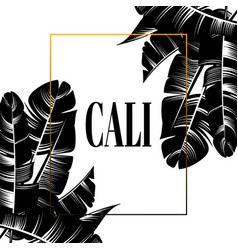 cali frame with hand drawn palm vector image