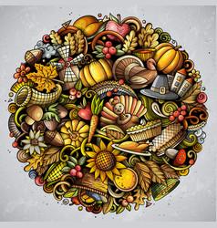 cartoon doodles happy thanksgiving day vector image