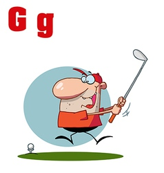 Cartoon golfer with letter vector