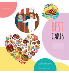 Cartoon sweet products template vector