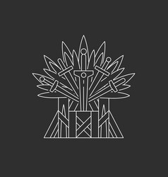 ceremonial chair built of weapon vector image