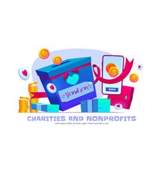 Charity and nonprofit organization cartoon banner vector
