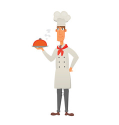 chef in restaurant cute cook in uniform holding vector image