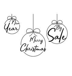 christmas balls happy christmas new year and big vector image