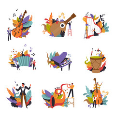 class music instruments and musicians on concert vector image