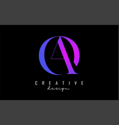 Colorful pink and blue ao a o letters design logo vector