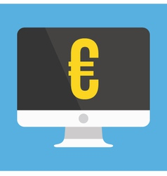 Computer Display and Euro Sign Icon vector image
