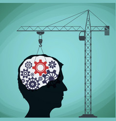 Construction crane with a gear and a human head vector