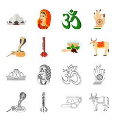 country india cartoonoutline icons in set vector image