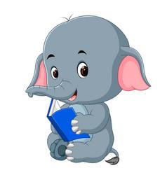 Cute elephant reading a book vector