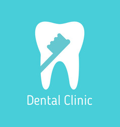dental clinic logo white tooth with toothbrush on vector image